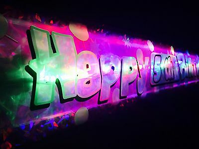 1x Flashing LED Happy Birthday banner 1st-60th Party decorations Bunting glows