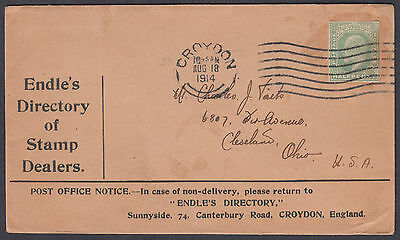 1914 Endle's Directory of Stamp Dealers Advertising Envelope, Croydon M/C to USA