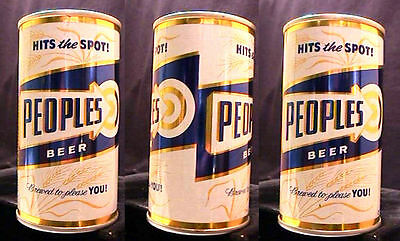 Peoples Beer Hits The Spot - Late 1960's - 12Oz Pull Tab Can - Oshkosh - Clean!!