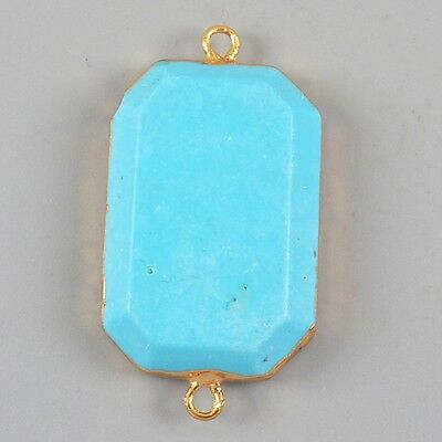 Blue Howlite Turquoise Faceted Connector Gold Plated T024158