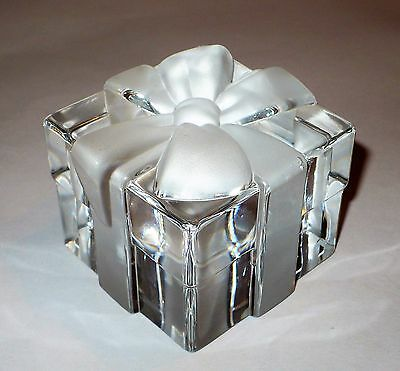 Tiffany & Co. Crystal Gift Box With Bow Paperweight Germany Vgc