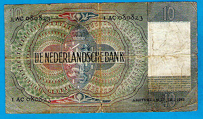 RARE TYPE 1 Netherlands P56a 10 Gulden YOUNG GIRL Wmk Old Man #1AC680824 27.7.40
