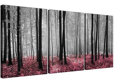 Pink Forest Woodland Trees Canvas Art Set of 3 for your Girls Bedroom
