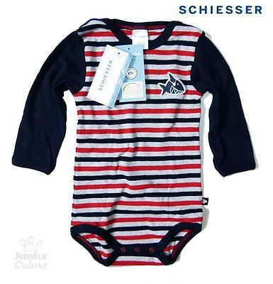 """SCHIESSER manches longues Baby Body Gr. 74' CAPT ' SHARKY"""" en gris rayé neuf"""
