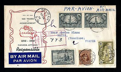 14795-CANADA-AIRMAIL REGISTERED COVER ST.JEAN to MAZAN(france)1948.WWII.British.