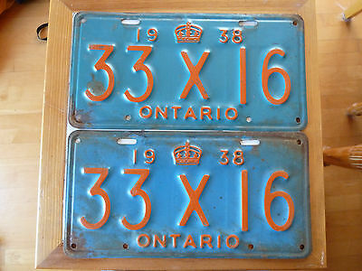 1938 Ontario COMMERCIAL License Plate PAIR/SET #33X16.......475G