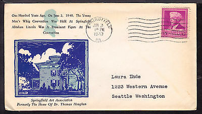 1940 SPRINGFIELD, ILL., #876 3c on YOUNG MEN'S WHIG CONVENTION CENTENARY COVER