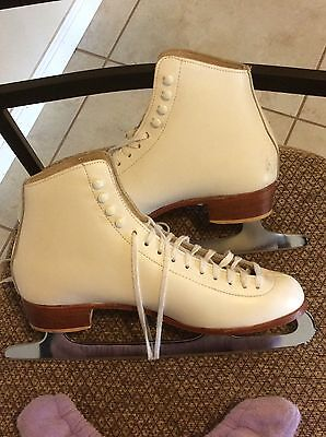 Riedell Leather Figure Ice Skates - Sz. 9 Mk Shefield Blades - Excellent
