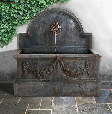 Villarreal Trough Wall Fountain Lion Head Water Feature Cascade Garden Outdoor