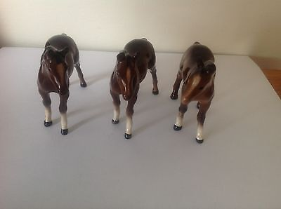 Collection of Three Beswick Horses Chestnut Brown