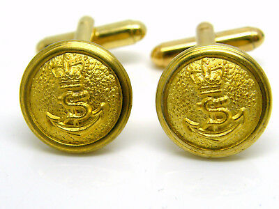 The Royal Navy Officers Raised Detail Cufflinks Button Badge Rn In Gift Pouch