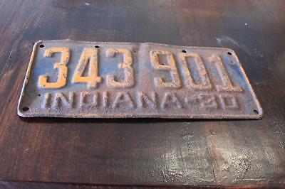 Vintage 1930 Indiana License Plate  343 901 Original Paint