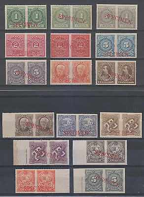 "URUGUAY 1884-88 Sc 57 to 70 & 72 Yv 57 to 73 SETS IN PAIRS ""SPECIMEN"" MNH+ F,VF"