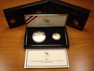 2012 Star Spangled Banner $5 Gold & $1 Silver Proof Commemorative Coin Set!