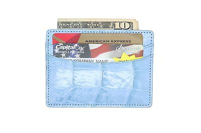 IRREGULAR Powder Blue Shiny Genuine Alligator 5 Pocket Card Cases