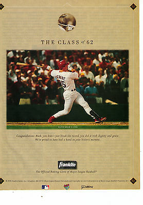 "1992 Franklin Batting Gloves ""Congrats Mark McGwire Class Of 62"" Print Advert."