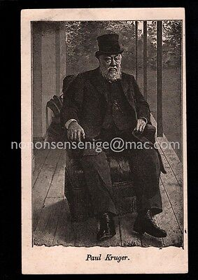SOUTH AFRICA BOER WAR PAUL KRUEGER SEATED IN  TOP HAT Early POSTCARD - BW30