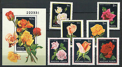 Two In One - Hungary 1982. Flowers / Roses Set + Sheet Garniture Mnh (**)