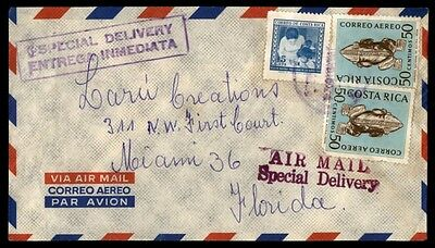 Costa Rica Bil. Special Delivery Handstamp on Cover to US