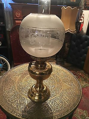 Antique/ Vintage Duplex Oil Lamp With Shade