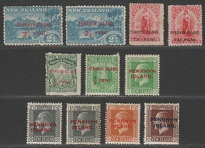 Penrhyn Island 1902-17 KEVII-KGV Surcharge Selection Mint / Unused