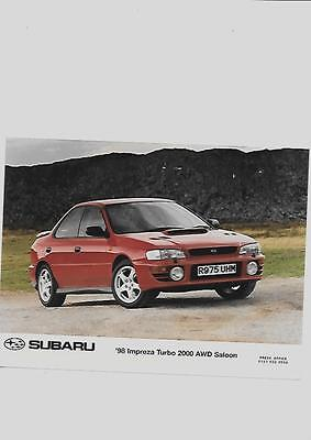 "SUBARU IMPREZA TURBO 2000 AWD SALOON ORIGINAL PRESS PHOTO 1998 "" Brochure """