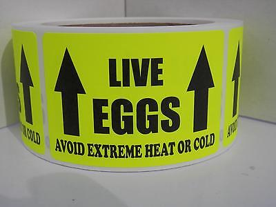 LIVE EGGS AVOID EXTREME HEAT OR COLD Hatching Egg Label Fluor Chartreuse 250/rl