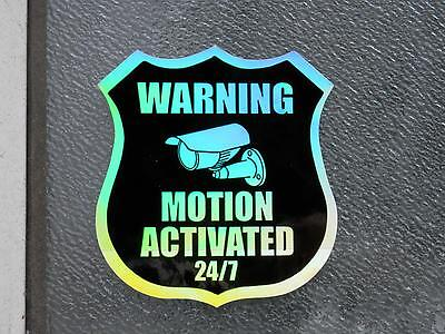 20 sticker labels,  MOTION ACTIVATED 24/7 Surveillance Camera, Holographic