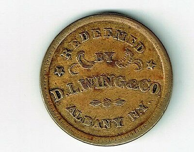 Union Flour Albany New York Redeemed By D.l.wing & Co Civil War Token Store Card
