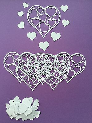 Love Heart Ensemble Die Cut Shapes - Assorted sets of 72pcs (8 large, 64 small)