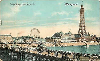 s07632 Central Beach & Tower, Blackpool, Lancashire, England postcard unposted