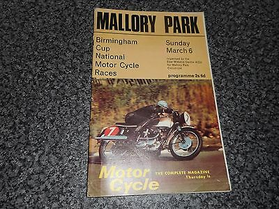 MOTOR CYCLE / BIKE RACING PROGRAMME : 1966 MALLORY PARK ~ MARCH 6th  FREE POST