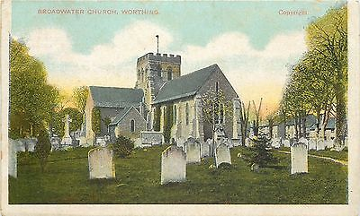 s07702 Broadwater Church, Worthing, Sussex, England postcard unposted