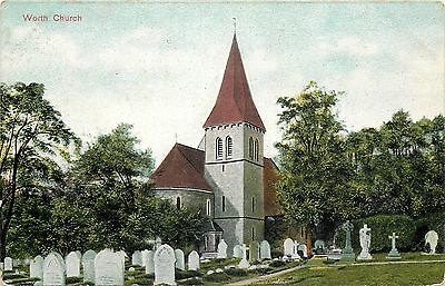 s07707 Church, Worthing, Sussex, England postcard unposted