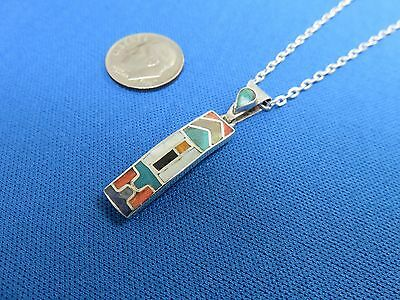 South American Jewelry 950 Sterling Silver Inca CARTOUCHE  Pendant Necklace  O