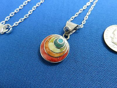 South American Jewelry 950 Sterling Silver Inca CIRCLE  Pendant Necklace PERU  R