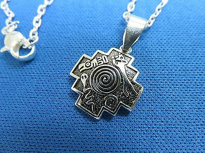 "South American Jewelry 925 Sterling Silver Inca ""CHAKANA""  Pendant Necklace  V"