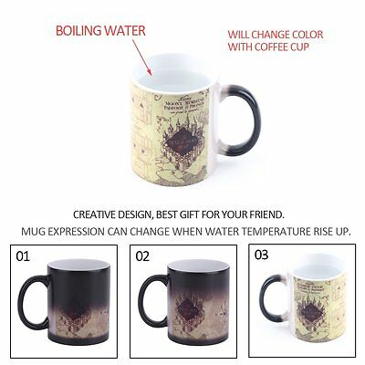 For Harry Potter Color Changing Mug For Marauders Map Ceramic Coffee Cup NEW RAU