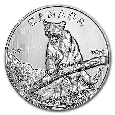 2012 ~ Gem ~ 1~Oz. Pure .9999 Silver ~ Cougar ~ Canadian Wildlife Series ~ $9.99