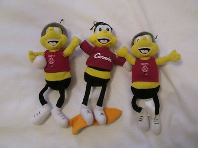 Roots Canada Olympic Honey Nut Cheerios General Mills Bee Beans Set 3 Plush Doll