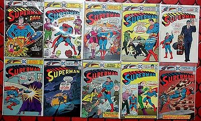 SUPERMAN #291-300 Man of Steel! 10 Vintage DC Bronze-Age Comic Books in a Row!
