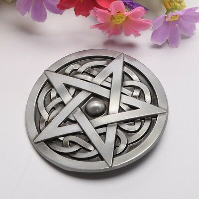 Mens Zinc Alloy Celtic Knot Pentagram Pattern Belt Buckle Fit For 1.5-1.6 Inch