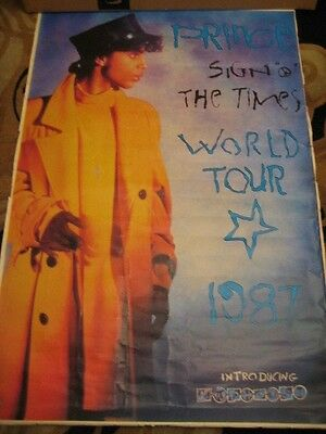 """PRINCE vintage poster huge 40""""x 60"""" inch  Sign of Times World Tour 1987"""
