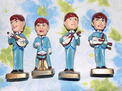 "The Beatles Set of 4 Vintage 1960's Cake Toppers Bobblehead Nodders  3 3/4"" tall"