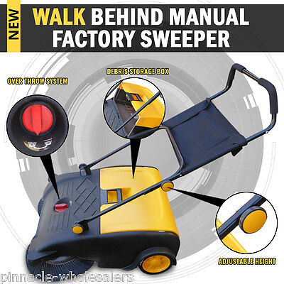 NEW Industrial Manual Walk Behind Floor Factory Sweeper 50L Capacity Storage
