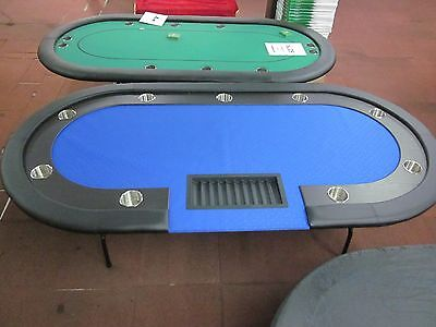 "84"" 7 Foot Professional  Poker Table With Speed Felt [Blue] + Dealer Tray"
