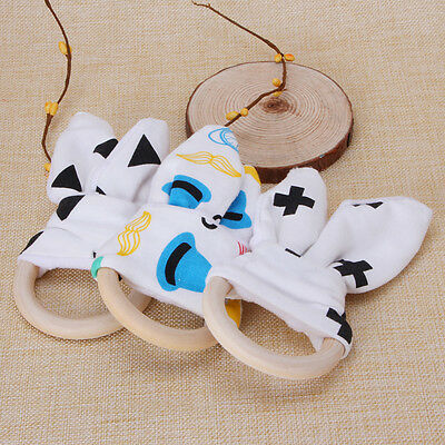 Safety Wooden Natural Baby Teething Ring Chewie Teether Bunny Sensory Gift Toy
