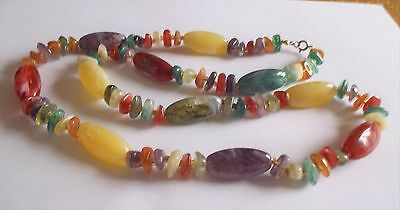 Vintage 1950S Marbled Colourful Lucite Bead Necklace