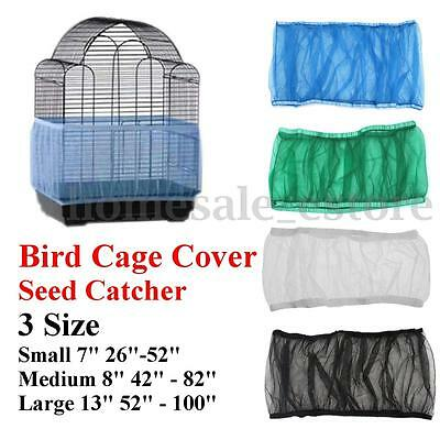 4 Colors 3 Sizes Seed Catcher Guard Mesh Bird Cover Shell Skirt Trap Cage Basket