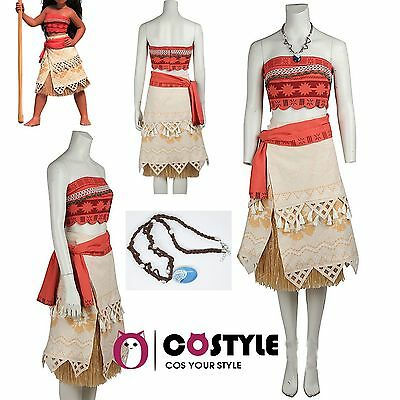 Kids Adult Fancy Moana Princess Dress Halloween Party Ball Party Cosplay Costume